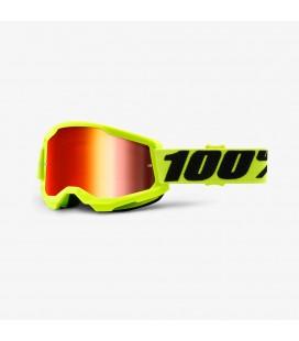 Óculos 100% Strata 2 Amarelo fluor com lente vermelha espelhada